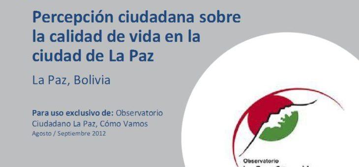 Informe de la Encuesta de percepción de calidad de vida 2012