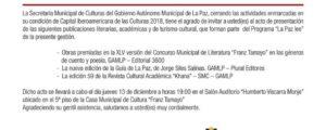 """Me alegra: GAMLP presenta publicaciones del programa """"La Paz Lee"""""""